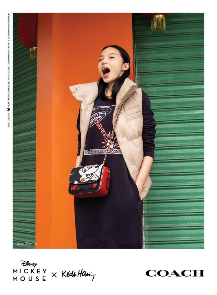 Chinese supermodel Zhu Xiao Wen sporting pieces from Coach's Mickey x Keith Haring collection for the brand's campaign.