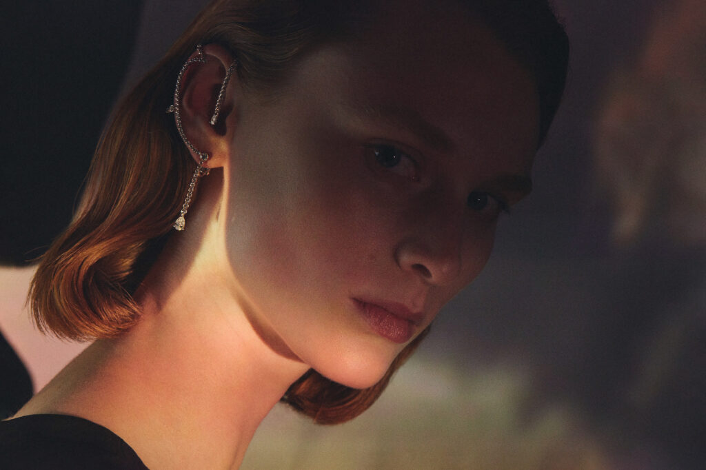 Mono earring from the Hermes lignes sensibles high jewellery collection designed by Pierre Hardy
